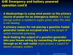 g4e emergency and battery powered operation cont d