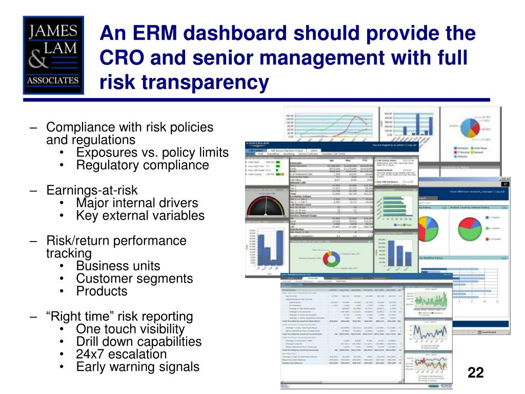 An ERM dashboard should provide the CRO and senior management with full risk transparency