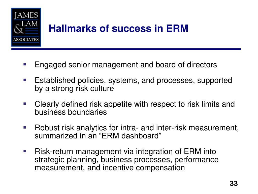 Hallmarks of success in ERM
