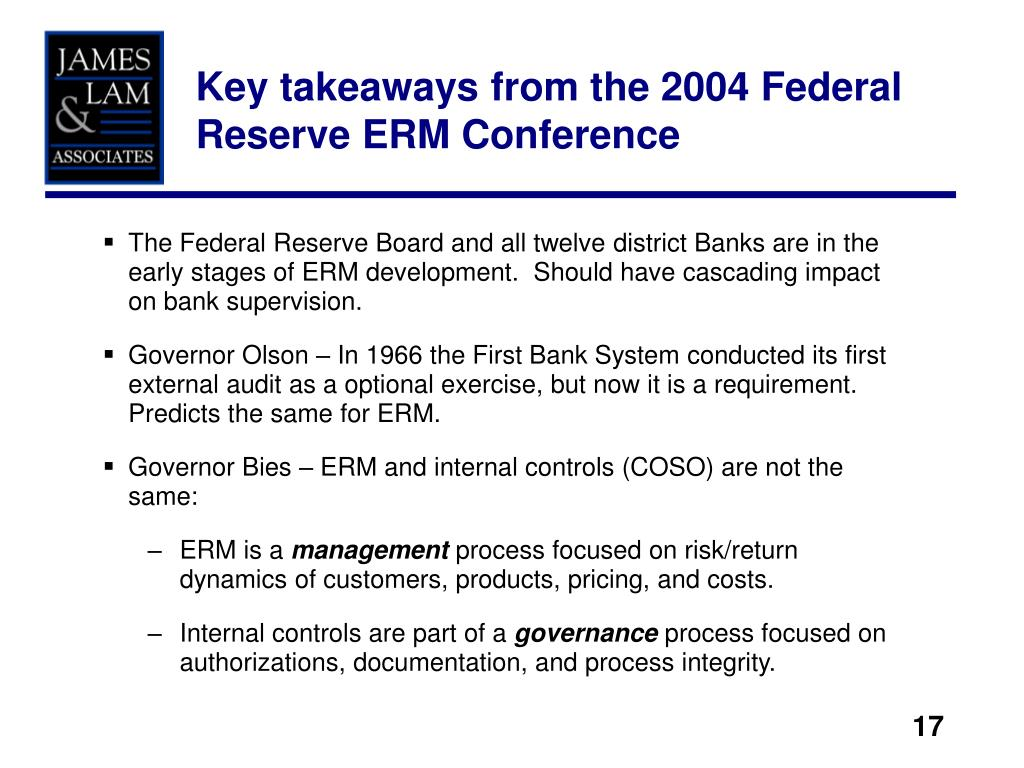 Key takeaways from the 2004 Federal Reserve ERM Conference