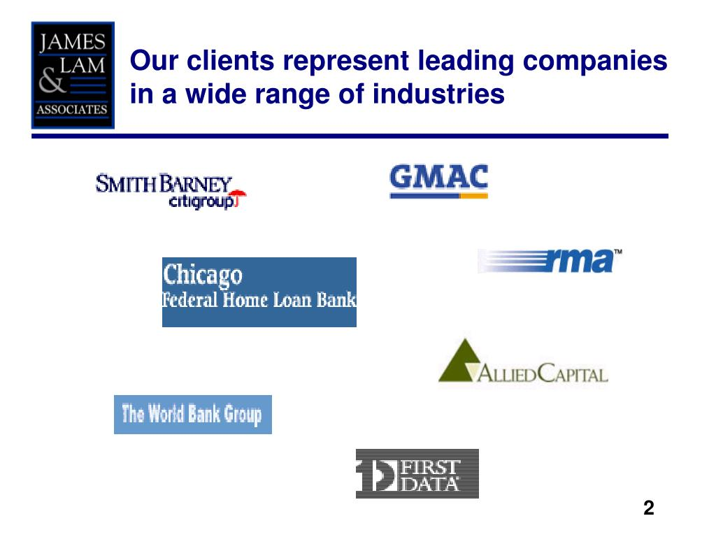 Our clients represent leading companies in a wide range of industries