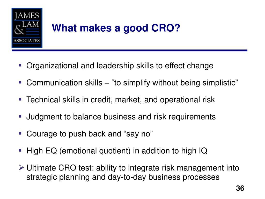 What makes a good CRO?