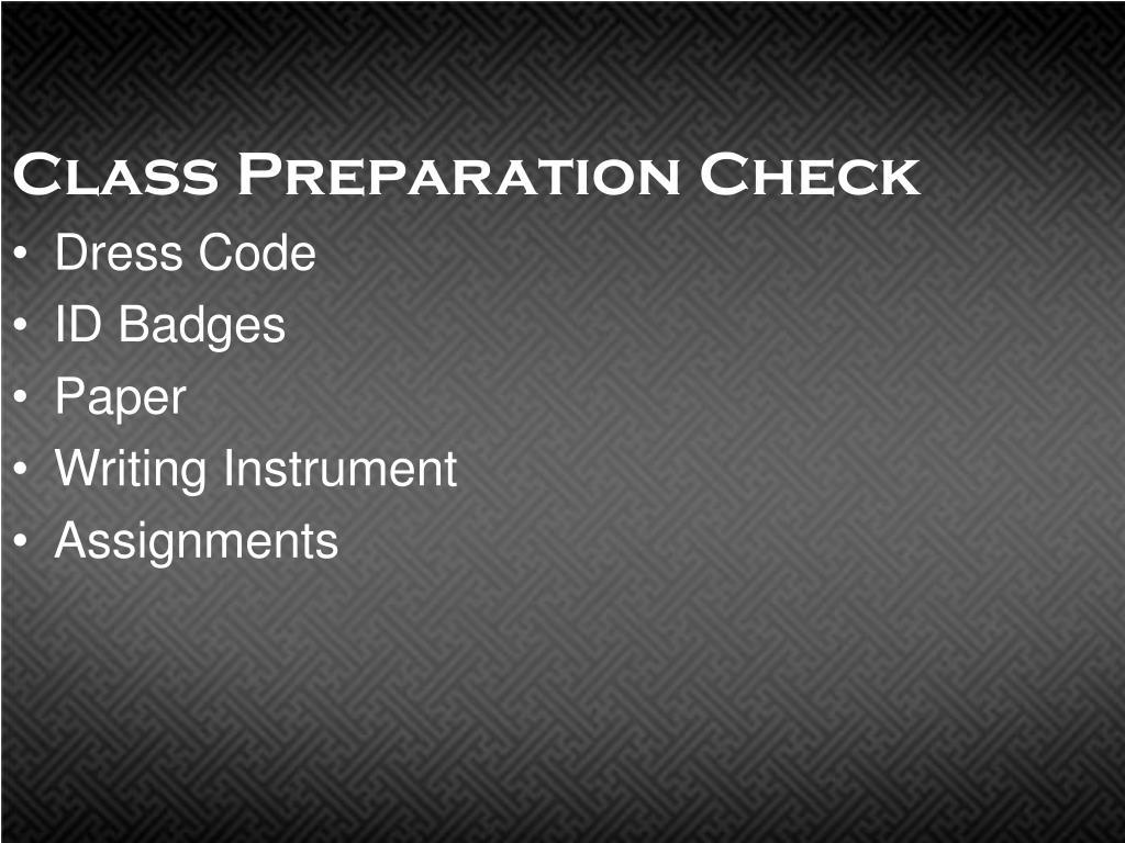 class preparation check l.