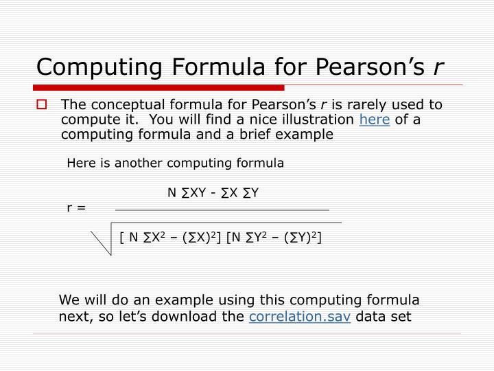 Computing Formula for Pearson's