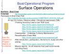 boat operational program surface operations