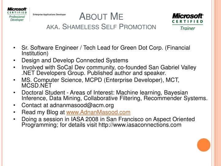 About me aka shameless self promotion