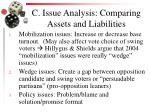 c issue analysis comparing assets and liabilities