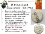 d populism and progressivism 1896 1920