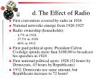 d the effect of radio