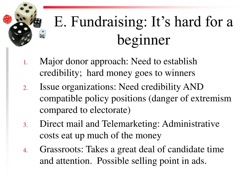 E. Fundraising: It's hard for a beginner