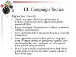 iii campaign tactics