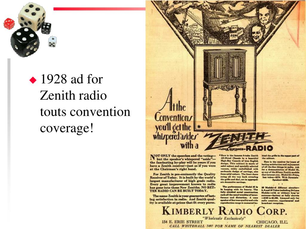 1928 ad for Zenith radio touts convention coverage!