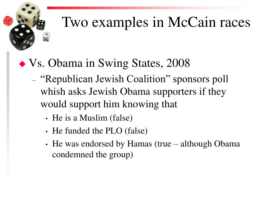 Two examples in McCain races