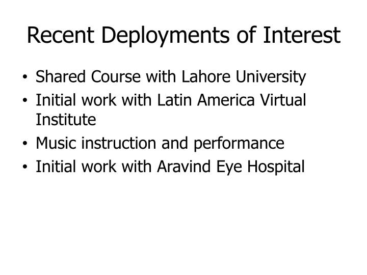 Recent Deployments of Interest