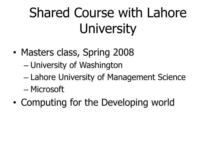 Shared Course with Lahore University