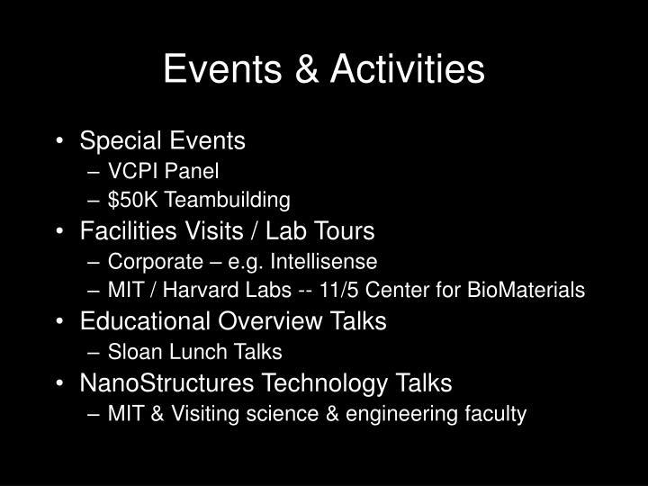 Events activities