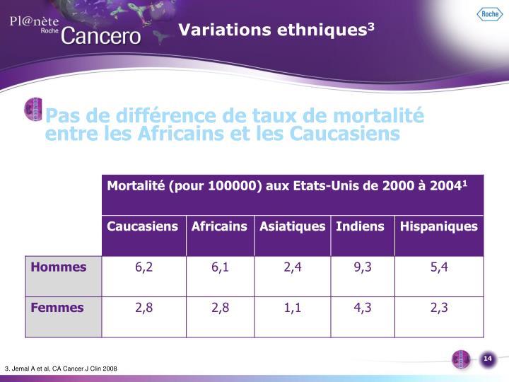 Variations ethniques