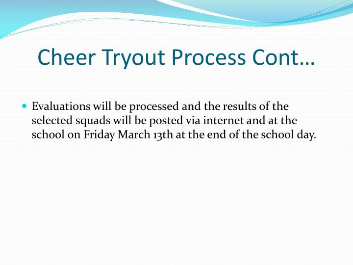 Cheer tryout process cont