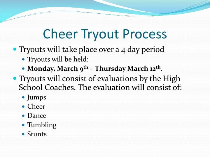Cheer tryout process