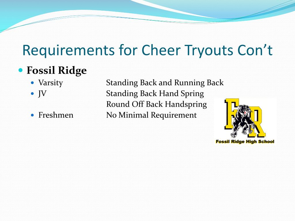 Requirements for Cheer Tryouts Con't