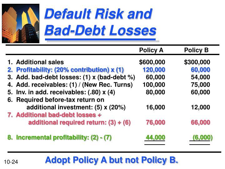 Default Risk and Bad-Debt Losses