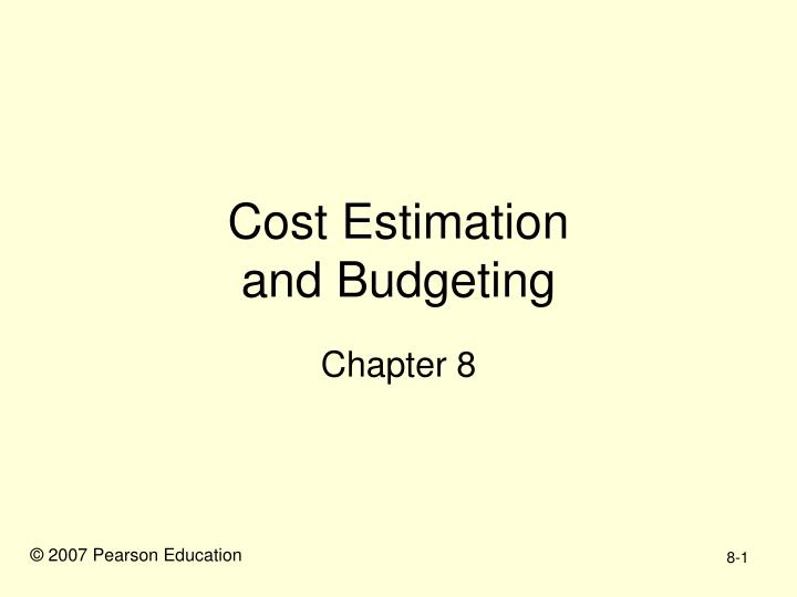 cost estimation and budgeting n.