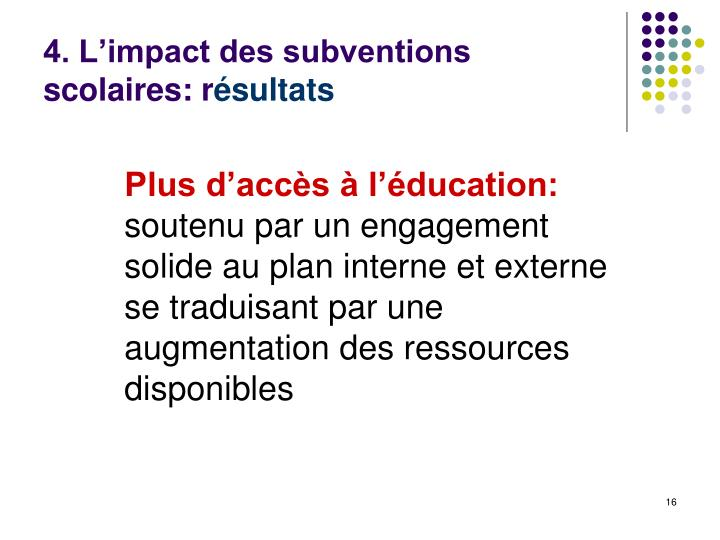 4. L'impact des subventions scolaires: r
