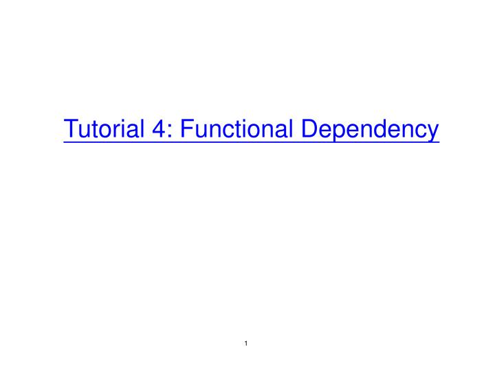 tutorial 4 functional dependency