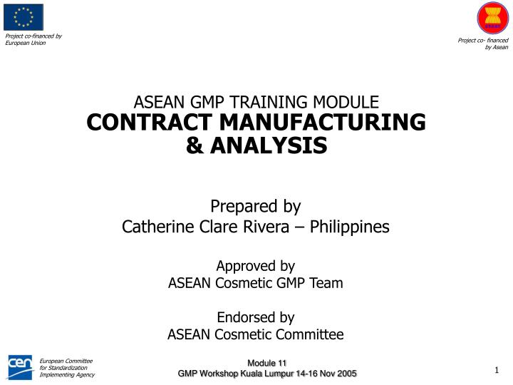 ASEAN GMP TRAINING MODULE