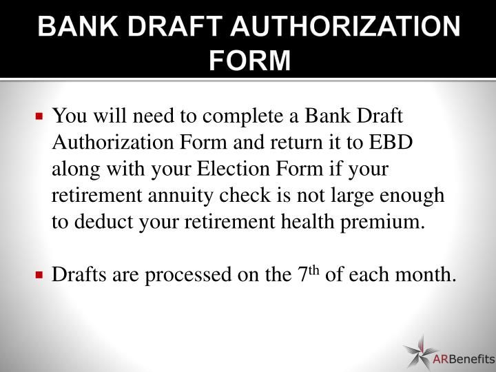 BANK DRAFT AUTHORIZATION FORM