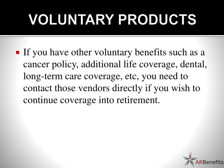 VOLUNTARY PRODUCTS