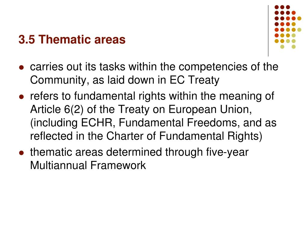3.5 Thematic areas