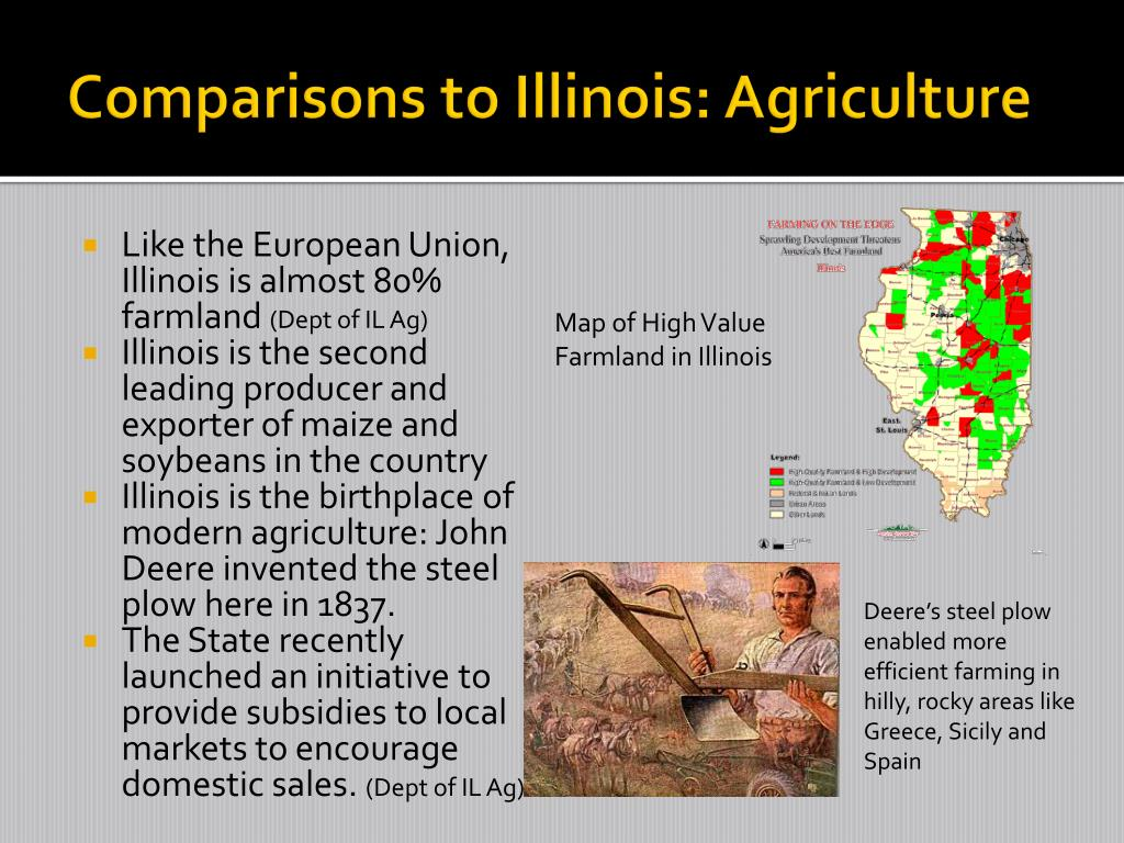 Comparisons to Illinois: Agriculture