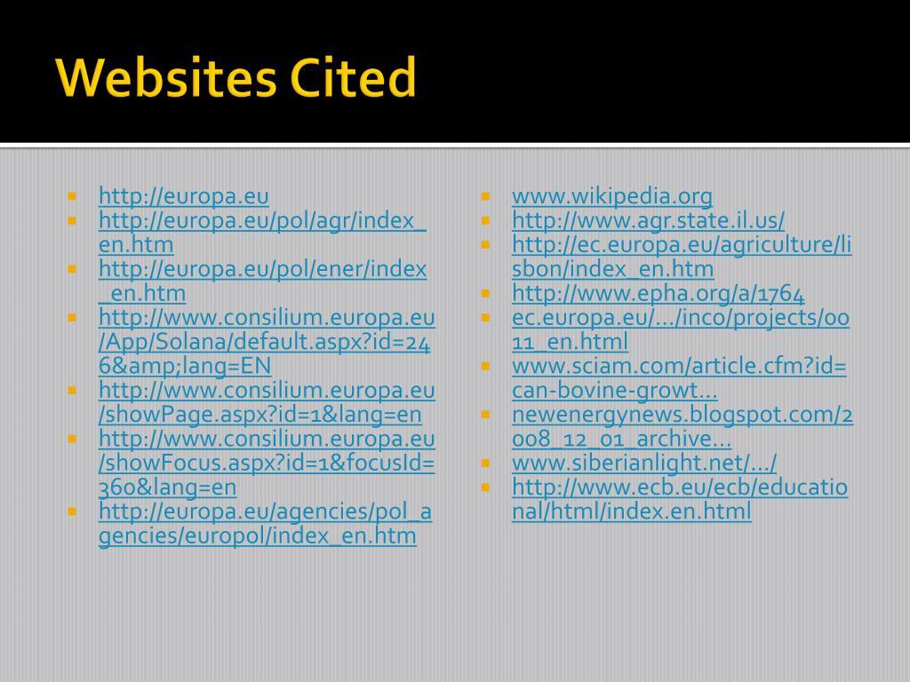 Websites Cited