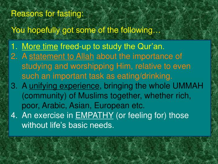 Reasons for fasting: