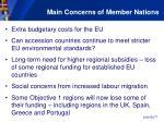 main concerns of member nations
