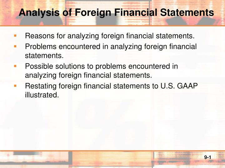 analysis of foreign financial statements n.