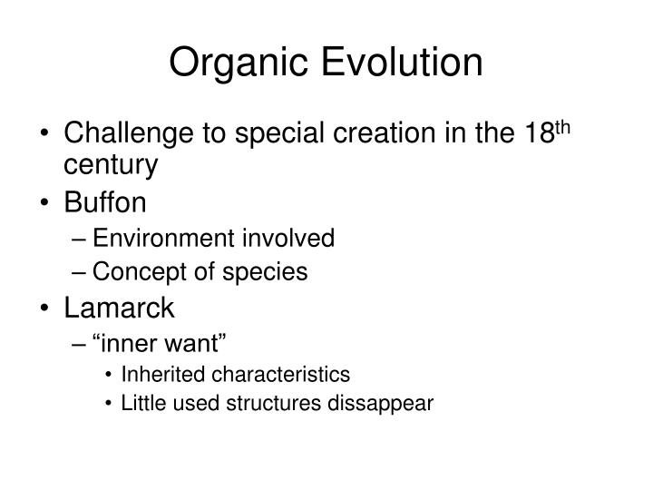 organic evolution includes the concept that