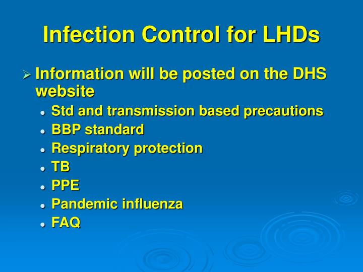 Infection Control for LHDs