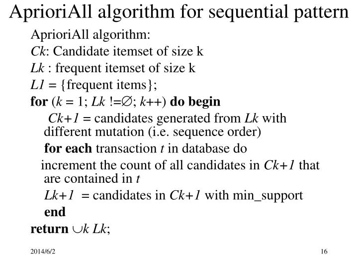 AprioriAll algorithm for sequential pattern