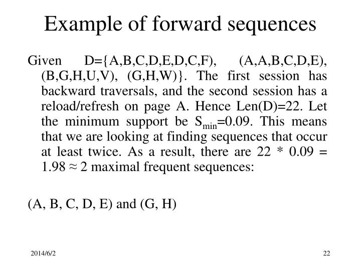 Example of forward sequences