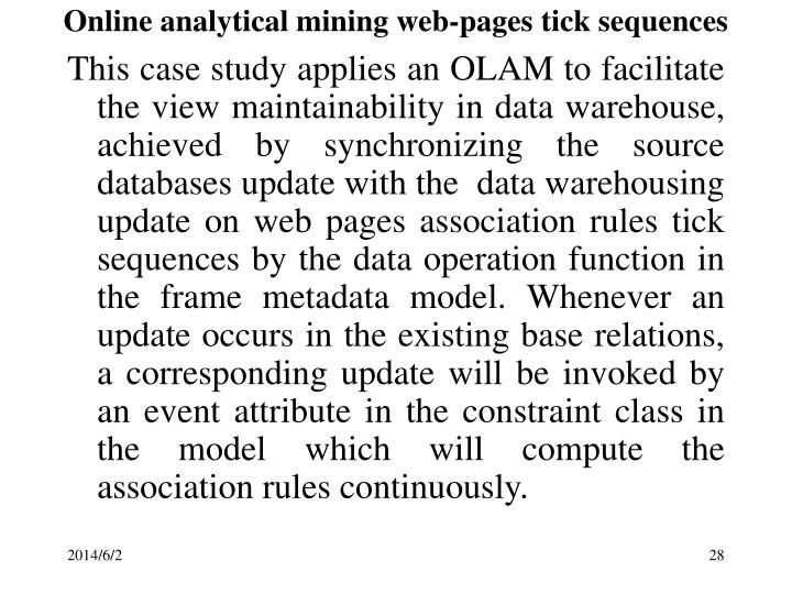 Online analytical mining web-pages tick sequences
