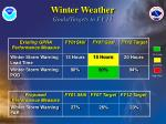 winter weather goals targets to fy 12