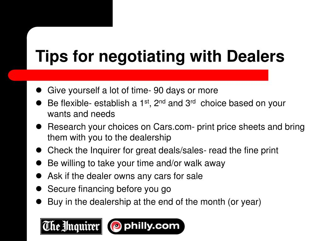 Tips for negotiating with Dealers