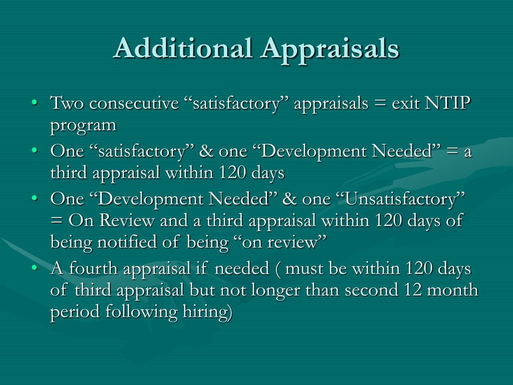 Additional Appraisals