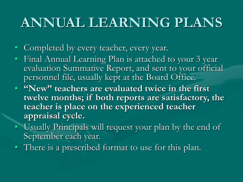 ANNUAL LEARNING PLANS