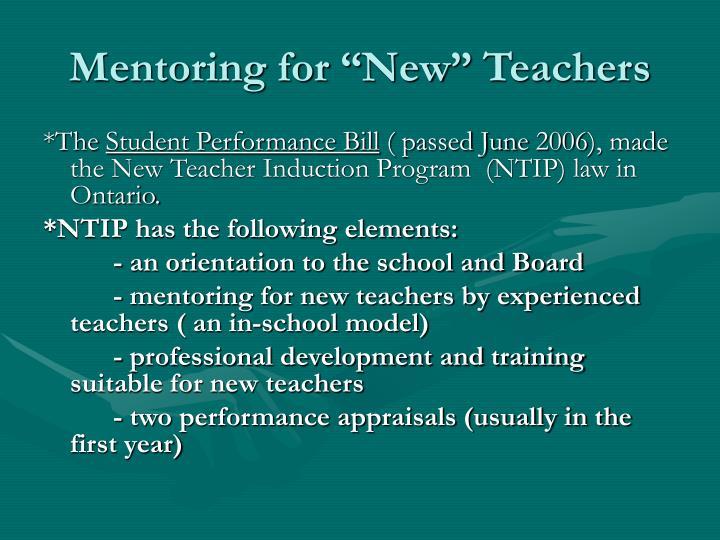 Mentoring for new teachers