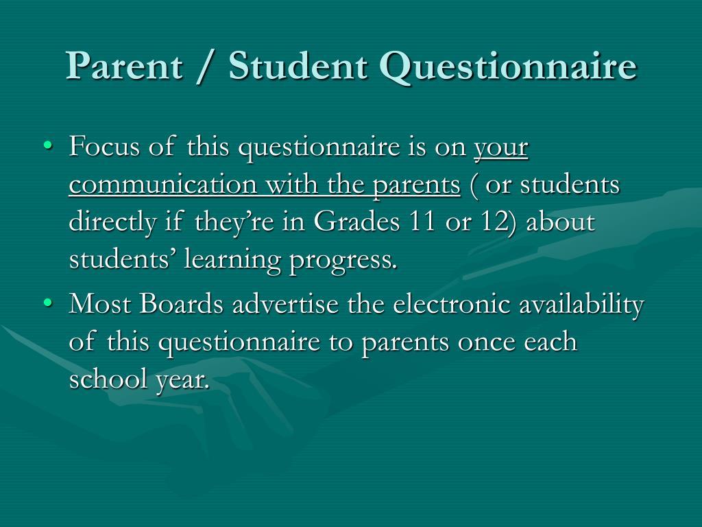 Parent / Student Questionnaire