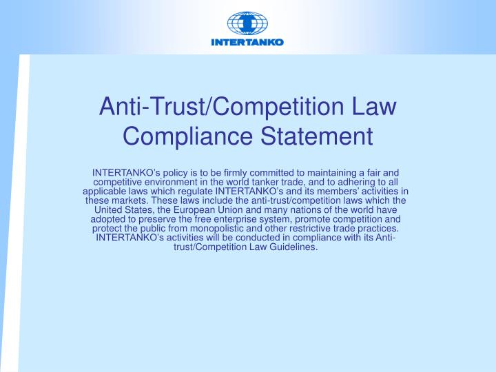 anti trust competition law compliance statement n.