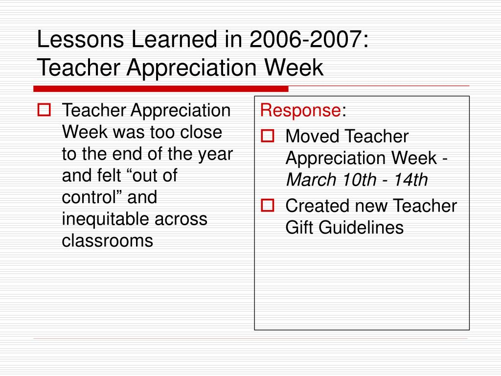 """Teacher Appreciation Week was too close to the end of the year and felt """"out of control"""" and inequitable across classrooms"""